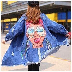 Jackets & Blazers - 🆕 Blue Graphic Back Long Denim Jacket